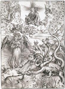 """""""Die mit der Sonne bekleidete Frau und der siebenköpfige Drache"""" (um 1497) von Albrecht Dürer ist einer von 15 Holzschnitten aus seiner """"Apokalypse"""". Die Darstellung bezieht sich auf die Offenbarung des Johannes, Kapitel 12. Die Frau wird als die Gottesmutter Maria gedeutet."""